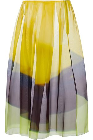 DRIES VAN NOTEN Women Midi Skirts - Striped silk organza midi skirt