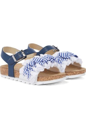 MONNALISA Girls Sandals - Leather-trimmed striped sandals