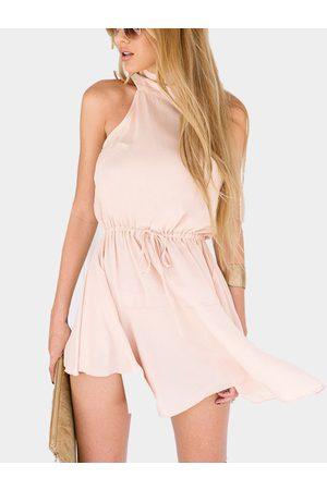 YOINS Women Sleeveless Dresses - Crew Neck Sleeveless Drawstring Waist Mini Dress in