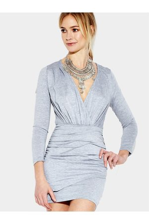 YOINS Women Bodycon Dresses - Gray V-neck Bodycon Long Sleeves Dress