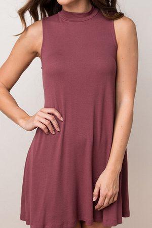YOINS Women Sleeveless Dresses - Sleeveless A-line Mini Dress with Turtle Neck