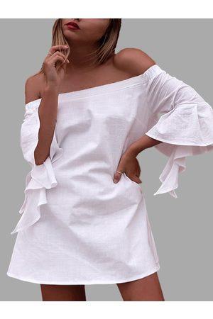 YOINS Women Party Dresses - Elastic Off Shoulder Cocktail Sleeve Mini Dress