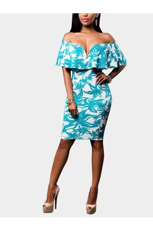 YOINS Random Floral Print Off Shoulder Bodycon Hem Mini Dress