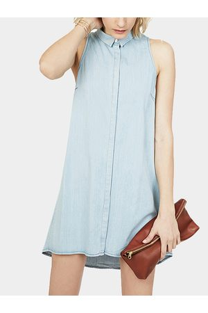 YOINS Denim Sleeveless Shirt Dress