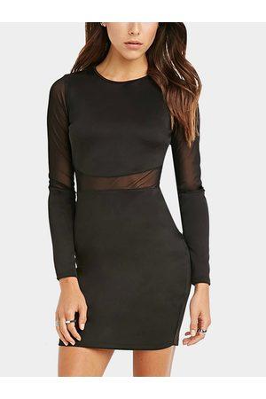 YOINS Women Bodycon Dresses - Mesh Panel Bodycon Dress