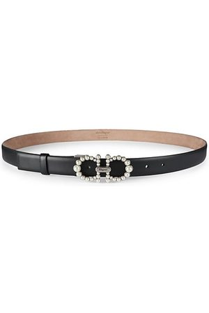 Salvatore Ferragamo Belts - Faux Pearl-Embellished Leather Belt