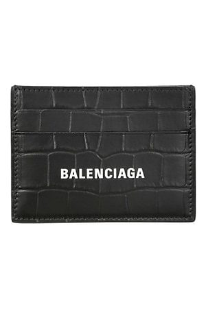 Balenciaga Men Bags - Logo Crocodile-Embossed Leather Card Case