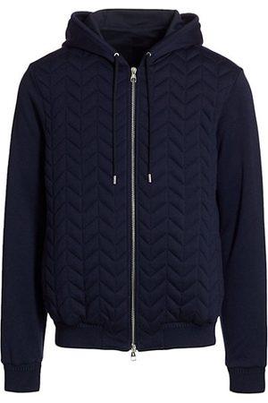 brett johnson Men Sweatshirts - Padded Jersey Cashmere-Blend Zip Hoodie