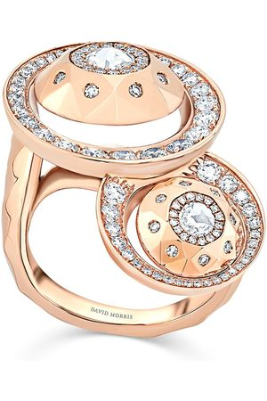 David Morris 18kt rose diamond Cut Forever Double Disc ring