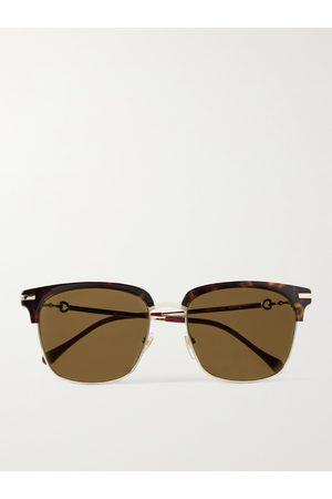 GUCCI Men Sunglasses - D-Frame Acetate and Gold-Tone Sunglasses