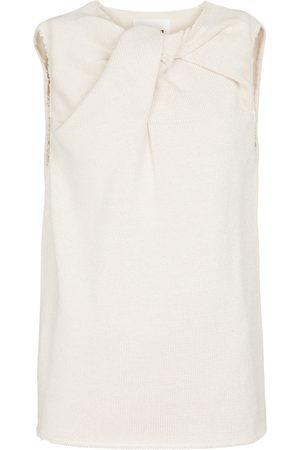 Jil Sander Women Tank Tops - Knotted cotton-blend top