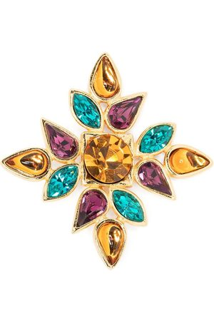 Yves Saint Laurent Crystal-embellished flower motif brooch