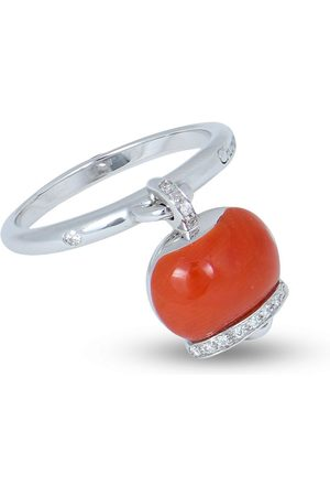 CHANTECLER 18kt white gold Campanella diamond and coral ring