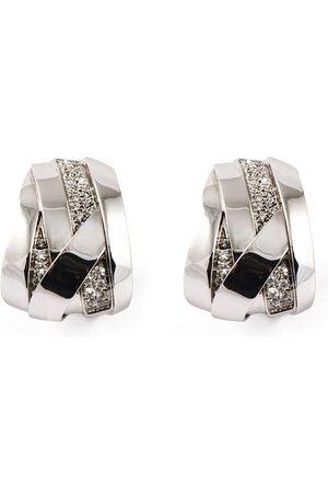 Mattioli 18kt white gold diamond band hoop earrings