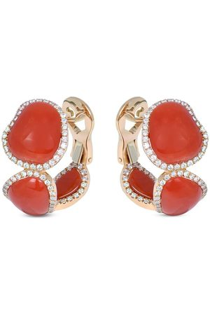 CHANTECLER 18kt rose gold, red coral and diamond earrings