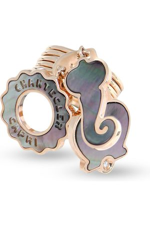 CHANTECLER 18kt rose gold three symbols mother-of-pearl and diamond ring