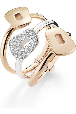 Mattioli 18kt rose and white gold diamond 3 charm ring