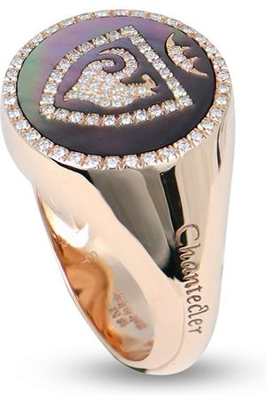 CHANTECLER 18kt rose gold, mother-of-pearl and diamond rooster pinky ring