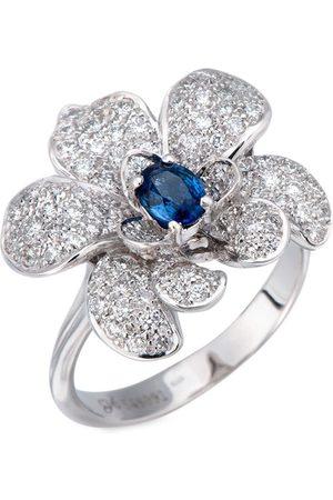 Carrera 18kt white gold flower diamond and blue sapphire ring