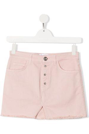 Dondup Girls Denim Skirts - TEEN embellished button denim skirt