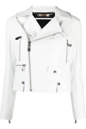 Philipp Plein Women Blazers - Cropped leather biker jacket