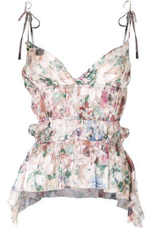 HACULLA Floral ruffle camisole silk top