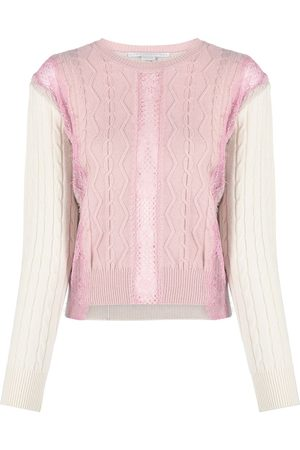 Stella McCartney Contrast-panel cable-knit jumper