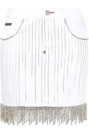 Philipp Plein Crystal-embellished denim skirt