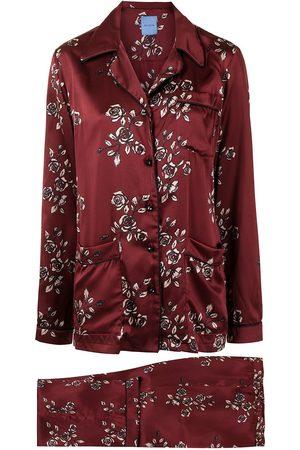 Macgraw Women Lingerie Sets - Rose-print silk pajama set