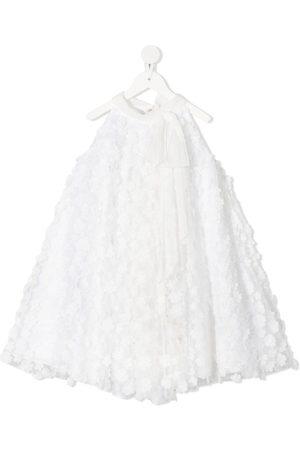LA STUPENDERIA Floral-appliqué flared dress