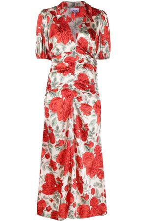 Ganni Women Printed Dresses - Floral-print satin midi dress