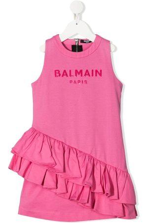 Balmain Logo-print ruffled dress