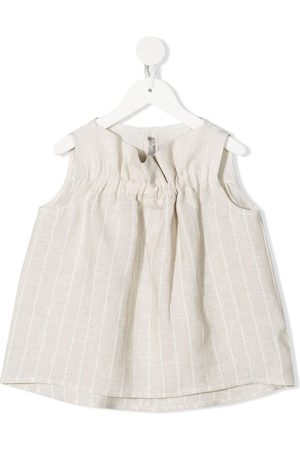 Il gufo Ruched-effect pinstriped top