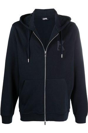 Karl Lagerfeld Embroidered-logo zip-up hoodie