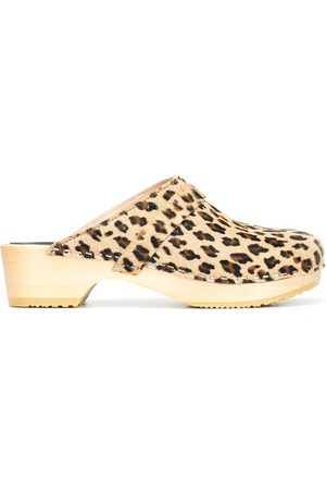 Swedish Hasbeens Swedish Husband leopard-print clogs