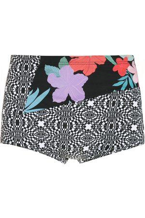 AMIR SLAMA Men Swimming Briefs - Striped panels Hibiscus swimming trunks
