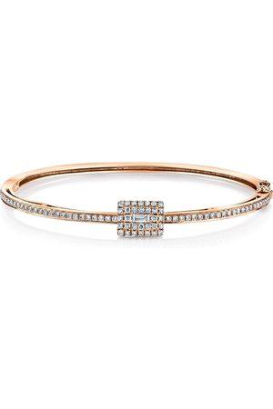 Shay 18kt rose gold moving diamond baguette bangle
