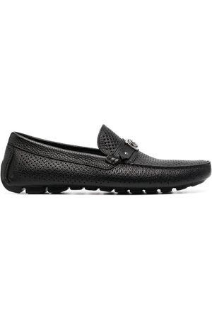 BALDININI Perforated logo-plaque leather loafers