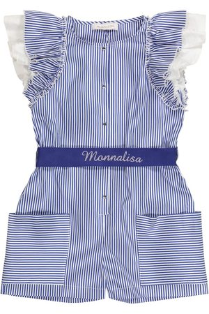 MONNALISA Striped cotton-blend playsuit