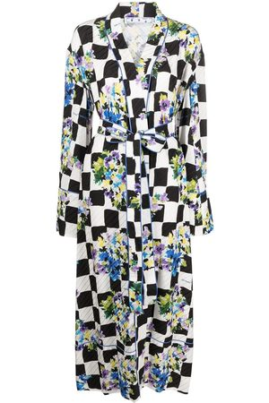 OFF-WHITE Floral check robe coat