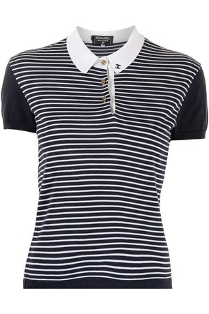 CHANEL Logo-embroidered striped polo shirt