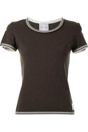 CHANEL 2005 striped edges cashmere T-shirt