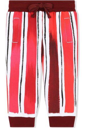 Dolce & Gabbana Boys Trousers - Striped logo-print track pants