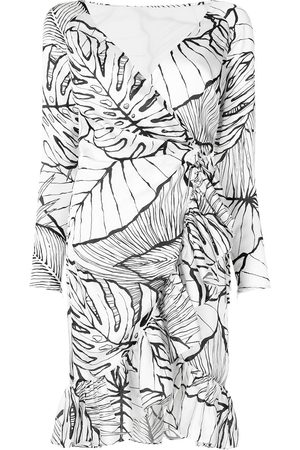 Marchesa Notte Leaf pattern wrap dress