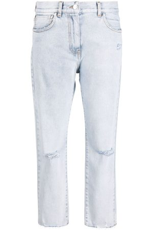 Msgm Ripped-detailing cropped jeans
