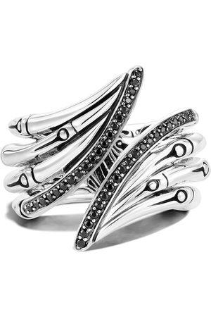 John Hardy Sterling Bamboo black sapphire ring