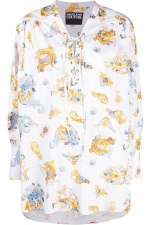VERSACE Barocco-print lace-up shirt