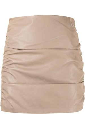 Michelle Mason Ruched leather mini skirt