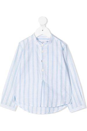 KNOT Striped collarless shirt