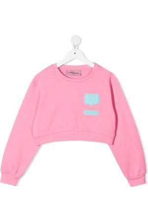 Chiara Ferragni Girls Sweatshirts - Logo-patch cropped sweatshirt